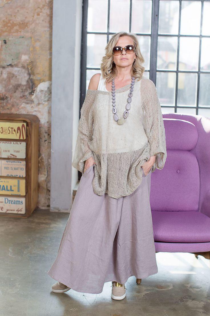 БА755: юбка из льна, размер  50/52, Lyuna. Топ белый, хлопок, размер 52/54, Lyuna. Туника в Бохо стиле из льна, размер свободный, Lyuna