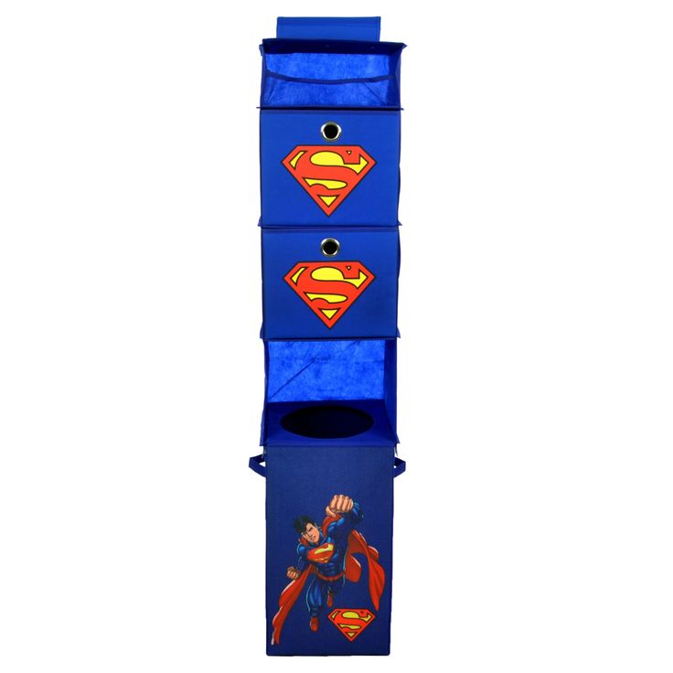 Superman Closet Hanging Organizer with Storage Bins - Blue