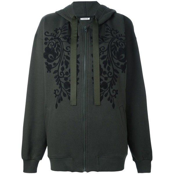 P.A.R.O.S.H. embroidered florals zip up hoodie (685 CAD) ❤ liked on Polyvore featuring tops, hoodies, green, cotton hooded sweatshirt, zip up hoodie, green hoodie, cotton hoodies and floral hoodie