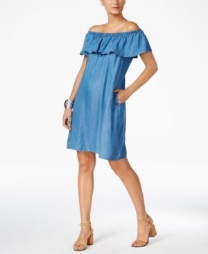Style & Co Denim Off-The-Shoulder Dress, Only at Macy's - Blue