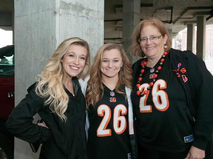 Steelers-Bengals tailgating. Photo: Fans tailgate before the Bengals - Steelers game. Arielle Dworetsky with Laura and Pam Shaw. Rebecca Butts for The Enquirer