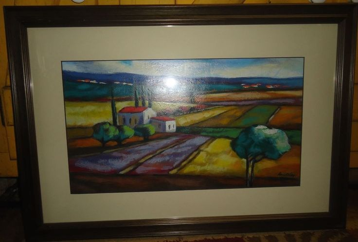 Limited Edition Serigraph Print Framed Matted Under Glass Landscape Signed #Expressionism