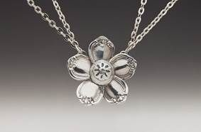 Madeline Silver Spoon Flower Pendant
