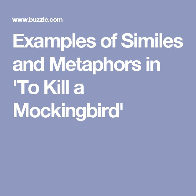 Examples Of Similes And Metaphors In To Kill A Mockingbird