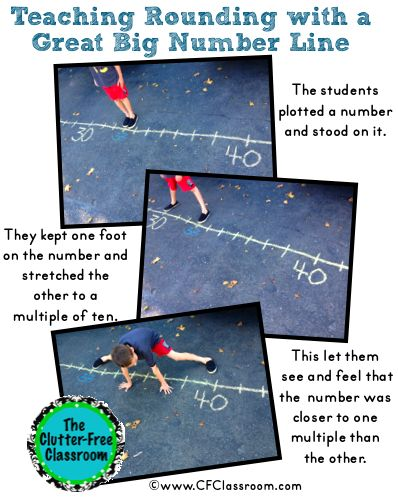 Clutter-Free Classroom - using sidewalk chalk to demonstrate rounding numbers
