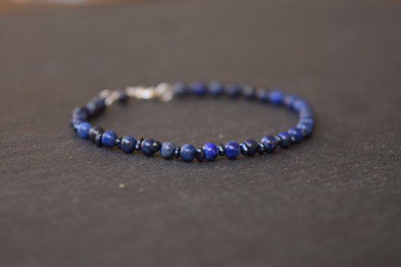 Tiny Blue Bracelet Dainty Lapis Lazuli Bracelet by InominosJewelry