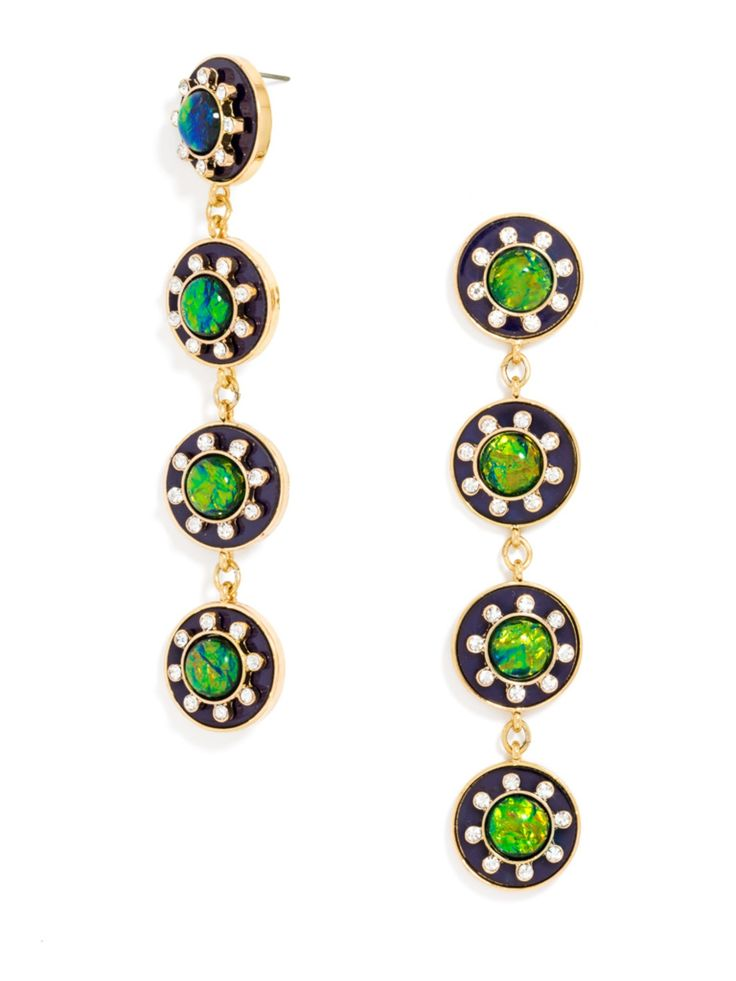 starboard drops enamel discs with vibrant opal detailing add a little drama to evening wear - Jewelry Design Ideas