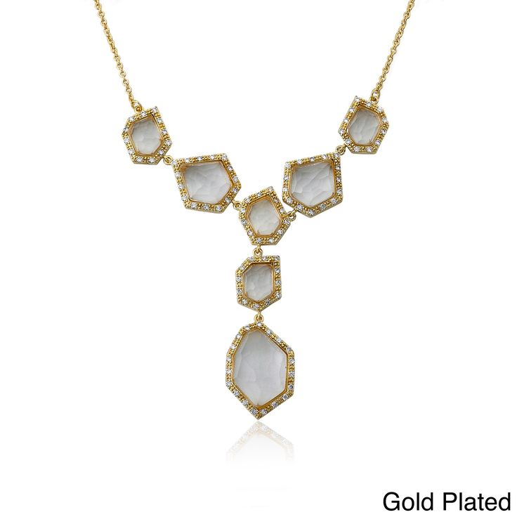 RICCOVA City Lights Rhodium-plated Brass Cubic Zirconia and Faceted Glass Dangle Center Chain Necklace