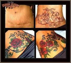 Image result for pictures of tattoos to cover stretch marks on stomach