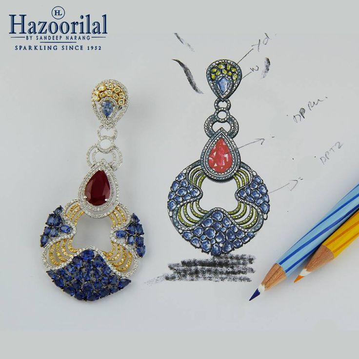 Hues of red ,blue and yellow to create an iconic piece. #HazoorilalBySandeepNarang #DesignIdeas #YellowDiamonds #Sapphires #Rubies #Sketches #Hazoorilal