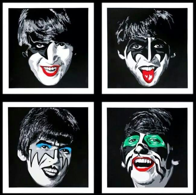 The Beatles / Kiss   lol !  by Mr Brainwash 2014