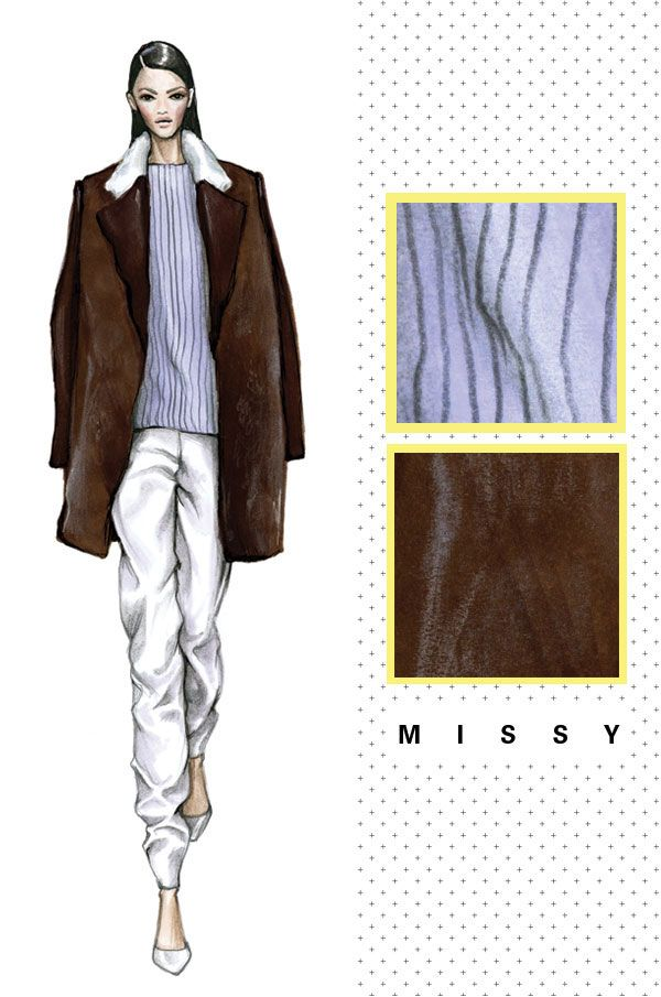 Thelayering and the multiple fabrics used in the lapel have inspired the creation ofa flattering and classic tailored three quarter length jacket. The styling makes this look very fresh and commercial (the neatness of the hair and the classic pump) which places this in a Missy category. This is a multilayered garment with adventurous proportions. A three-quarter length…
