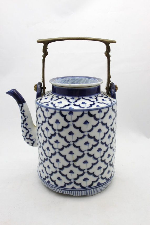 Vintage Blue and White Chinese Porcelain Tea Pot by InsomniacArts, $29.99