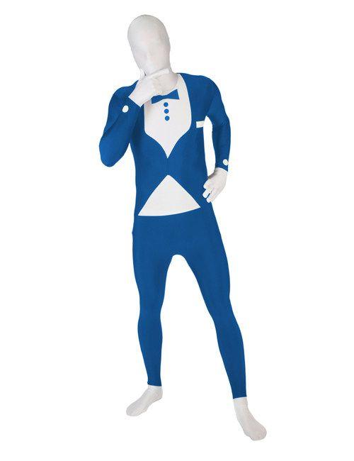 Morphsuit Tuxedo Anzug blau-weiss. Aus der Kategorie Karnevalskosüme / Morphsuits. Auf der Kostüm-Party herrscht ein strenger Dresscode und nur Anzüge sind gestattet? Kein Problem. Mit diesem fantastischen Morphsuit im Tuxedo-Stil halten Sie sich an die Kleidungsvorschrift und werden nebenbei noch auffallen wie ein bunter Hund. Morphsuits sind die perfekte Verkleidung für alle, die unerkannt bleiben wollen. Einfach perfekt für Kostüm-Parties, Motto-Feiern, Festivals, Fußball-Events usw.
