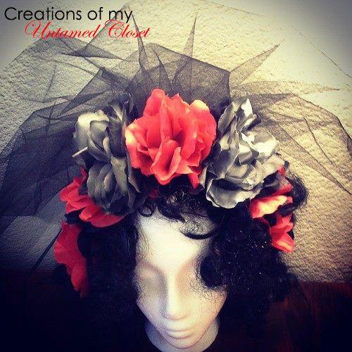 Halloween Headband  Black and Red Rose Headband  $15 by UntamedCloset