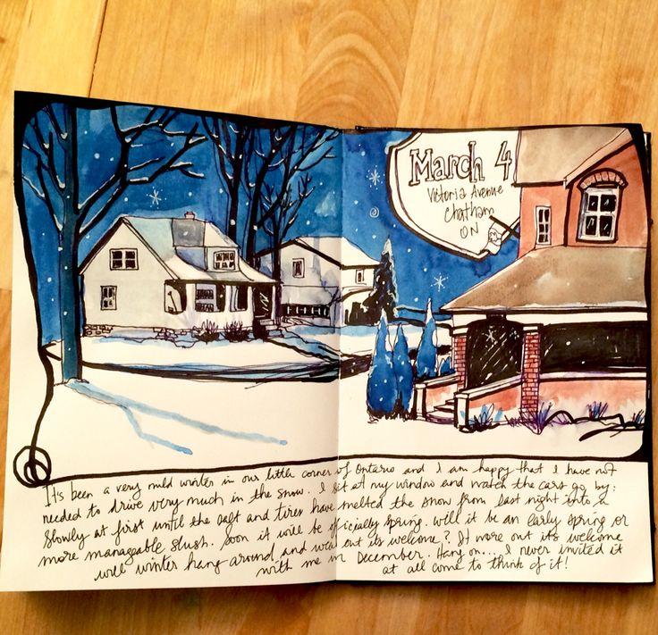 Art journal sketchbook page for March.  Snow, houses, and a vivid blue sky