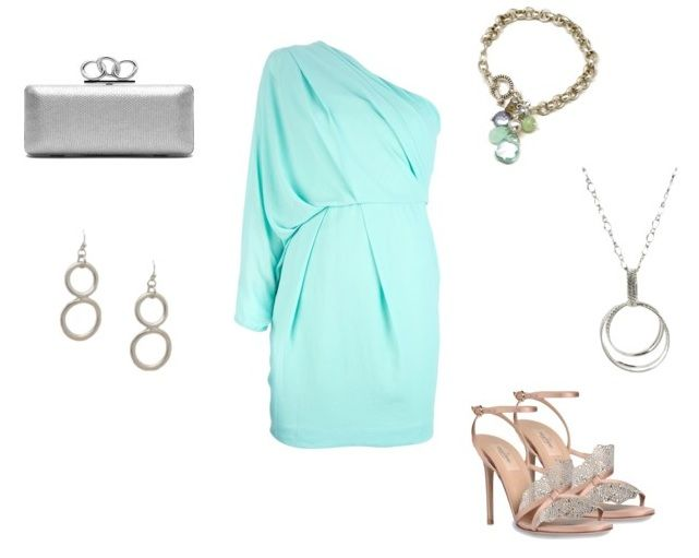 What to Wear to a Summer Wedding - sky blue one shoulder dress paired with silver jewelry. See more ideas on our blog or follow our board.