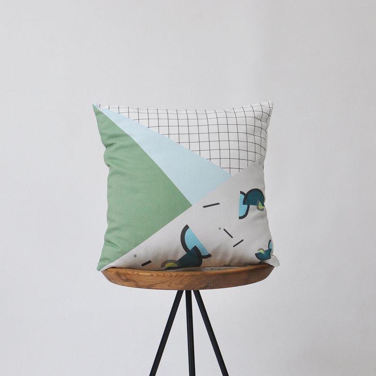 """Modern Decorative Pillow Memphis Cushion Geometric Pillow Throw Pillow Cushion Cover Kids Pillow Green Blue Cushion 16"""" (38.00 USD) by LoveJoyCreate"""