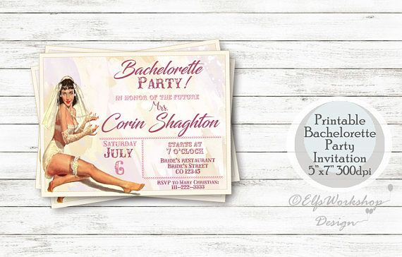 Check out this item in my Etsy shop https://www.etsy.com/listing/528628597/vintage-bachelorette-party-invitation