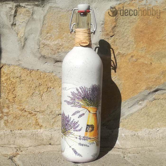 Levendulás csatos üveg, díszüveg - Provence   DecoHobby