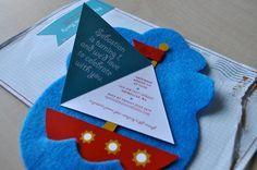 1st birthday invitations: felt and paper