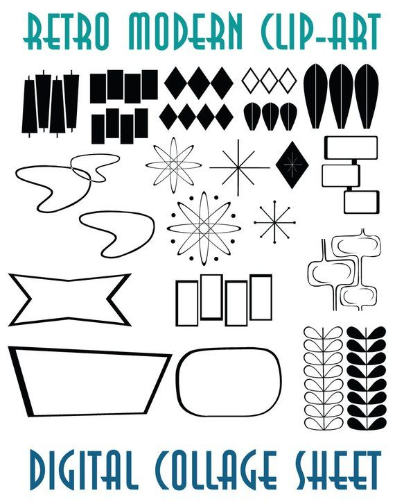 Retro Mid Century Modern Clip Art  Instant Download Scrapbook Supplies