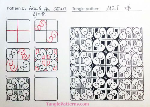 Online instructions for drawing CZT Hsin-Ya Hsu's Zentangle® pattern: Mei.