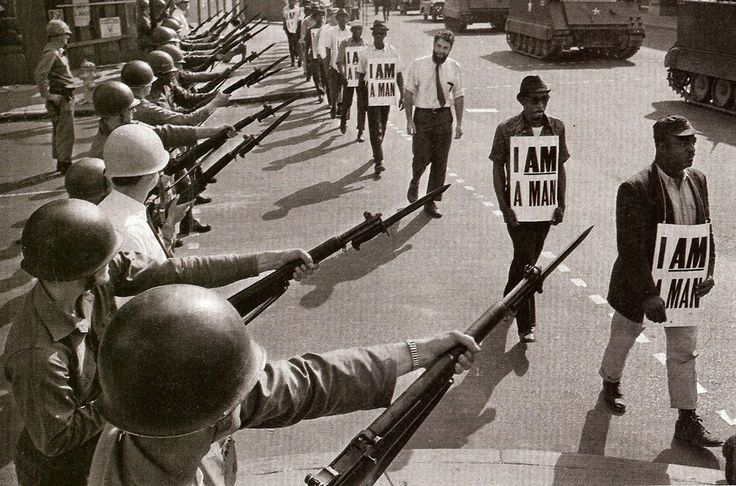 Memphis, TN, March 29, 1968 Civil rights protesters meet the National Guard at the home of the Memphis Blues.