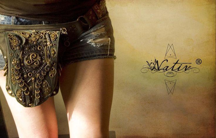 Leather Waist Belt Pocket Utility Bag by Nativ World  #Nativ #Utilitybag #handmade #brass #triskel #steampunk
