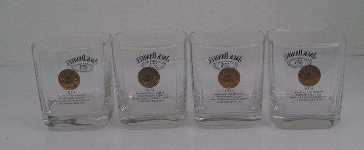 Jack Daniels Set of 4 Square Rocks Whiskey Spirit Glasses Old No 7 Barware | Collectibles, Advertising, Food & Beverage | eBay!