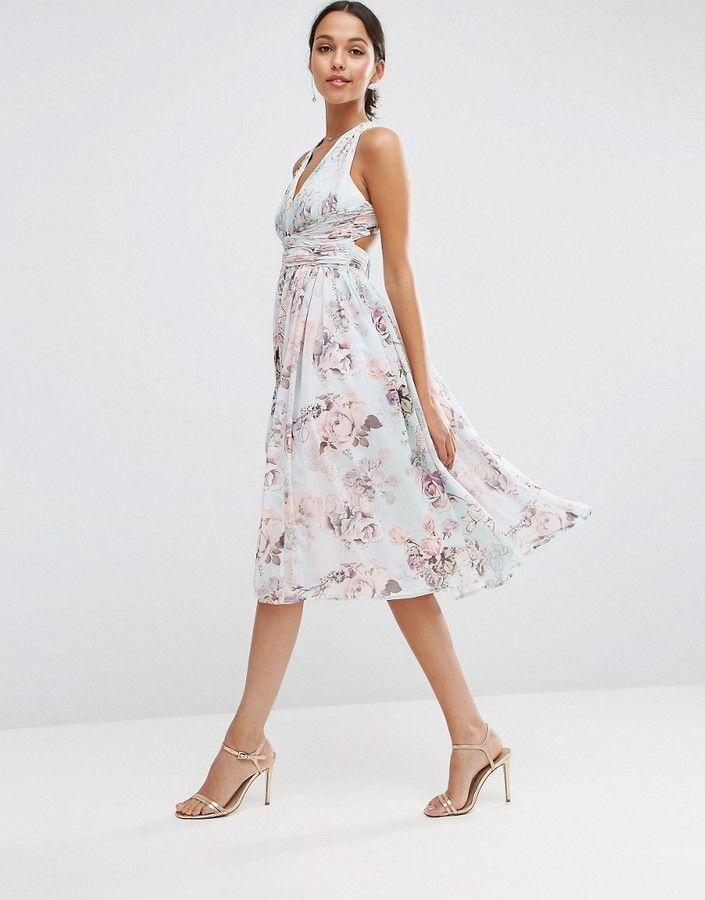 Asos Wedding Hollywood Midi Dress In Soft Rose Print