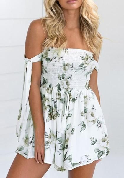 91ef308cd2e White Flowers Lace-Up Bandeau High Waisted Short Jumpsuit