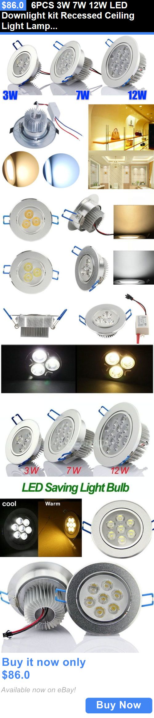 Lamps And Lighting: 6Pcs 3W 7W 12W Led Downlight Kit Recessed Ceiling Light Lamp Bulb Cabinet+Driver BUY IT NOW ONLY: $86.0