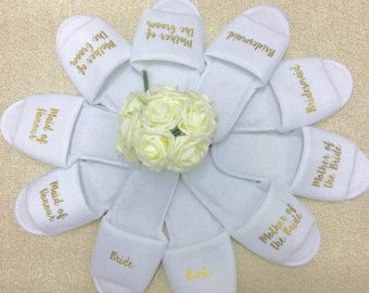 Bridal slippers | Bridal Party Slippers | Personalised Spa Slippers | Hen Party Slippers | Wedding Slippers | Spa Slippers | Bridesmaid Gift