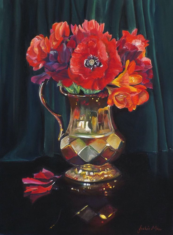 "Pastel Painting by JackieMac ""Red Poppies"""