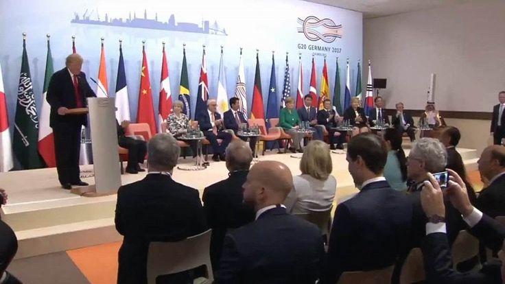 G20 Summit in Hamburg. President Trump speech at G20 summit 2017. , A. Merkel, J. Trudeau