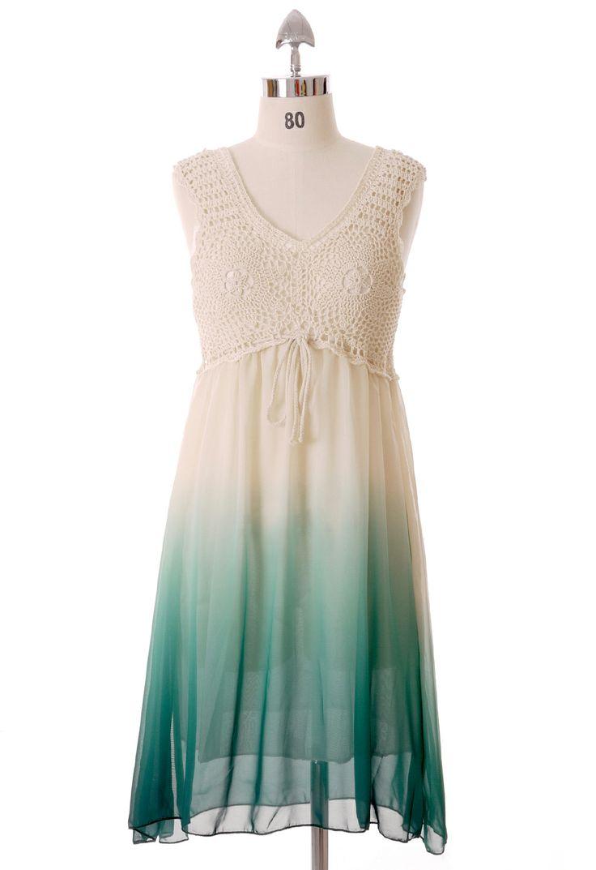 Crochet Gradient Dress in Jadegreen - Retro, Indie and Unique Fashion