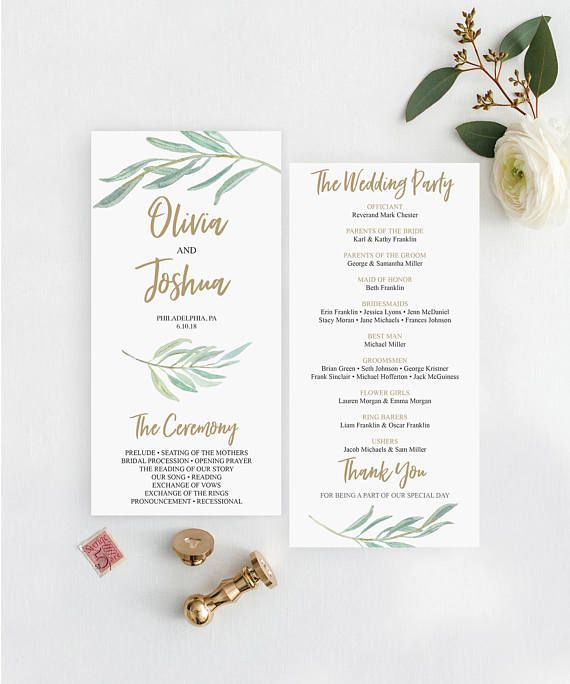 rustic greenery wedding programs template 4x8 wedding program