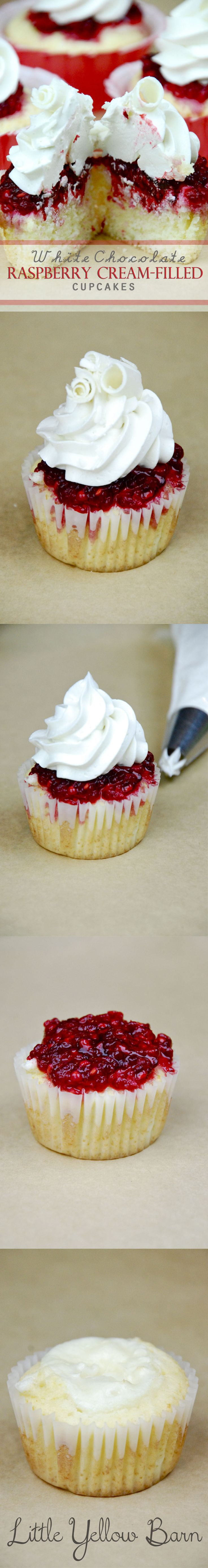 Vanilla cupcake, cream cheese filling, raspberry smothering and white chocolate buttercream topping.  Yes please.  Use clear plastic cups to package cupcakes for personal delivery.
