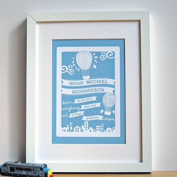 As a new born baby present, this papercut style print that would make a lovely keepsake to celebrate the birth of a child.    This design includes the