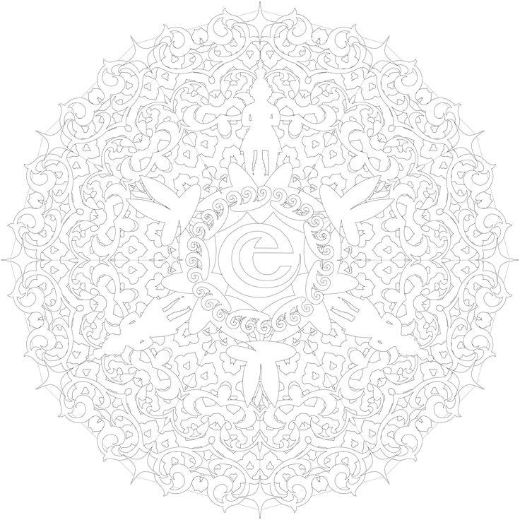 Kleuren voor volwassenen. Mandala kleurplaat met de Indische Waterlelies van de Efteling als thema.