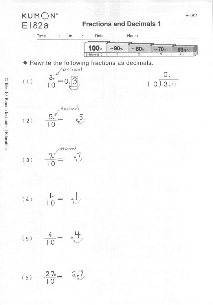 Kumon Maths Worksheets Printable Kumon Worksheets ...