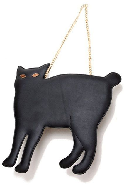 Cat Shaped Rivet Black Bag