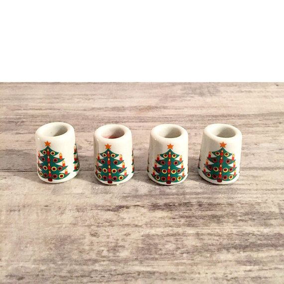Vintage Christmas Candle Holders Small Christmas Candlestick Holders #MadeinGermany #Germany #CandleHolders #ChristmasTree #Vintage