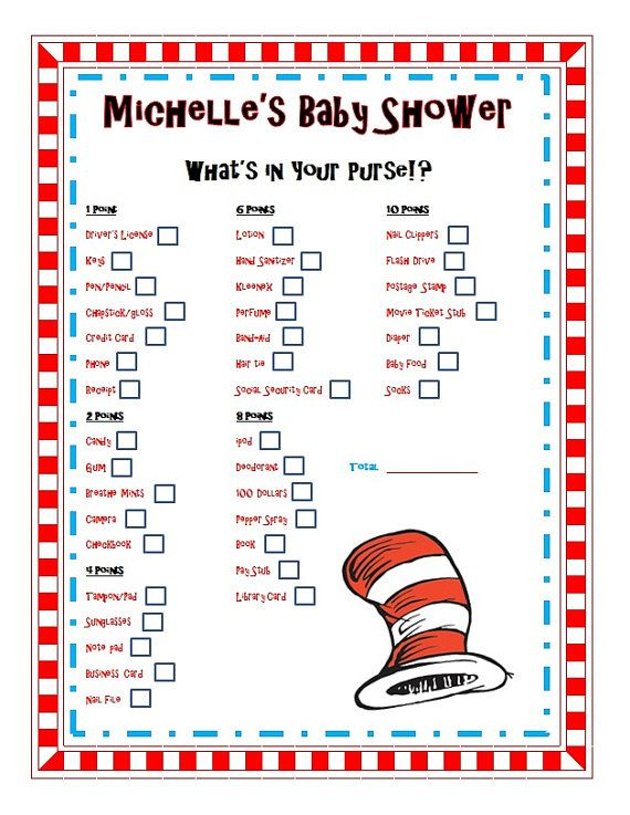 dr seuss baby shower party game what 39 s in your purse dr seuss baby