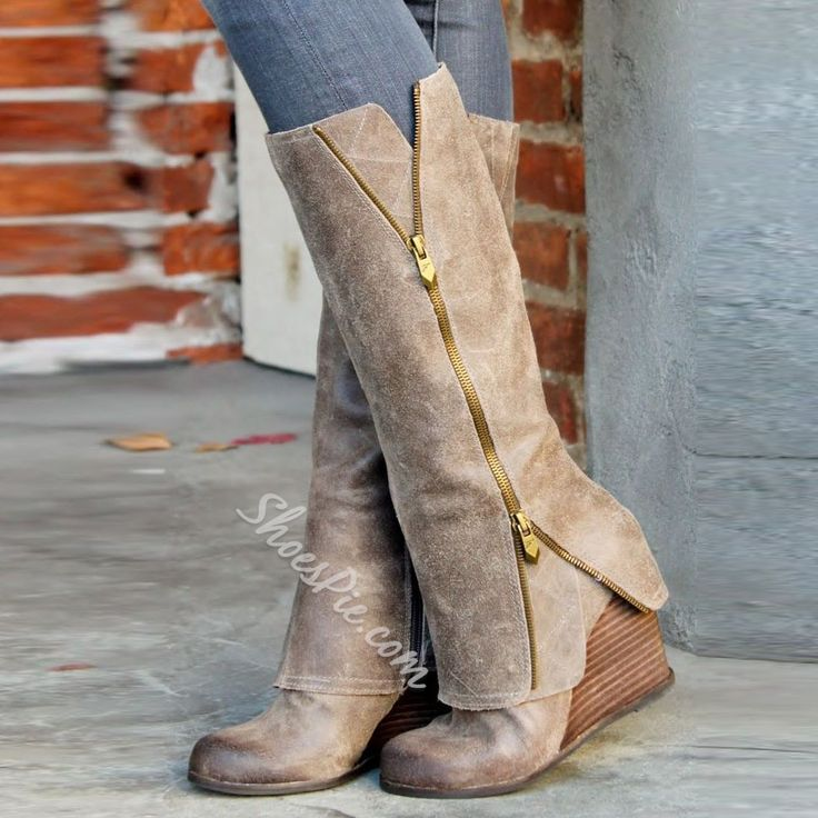 Glamerous Boots Wedge Kneel-high Zippers