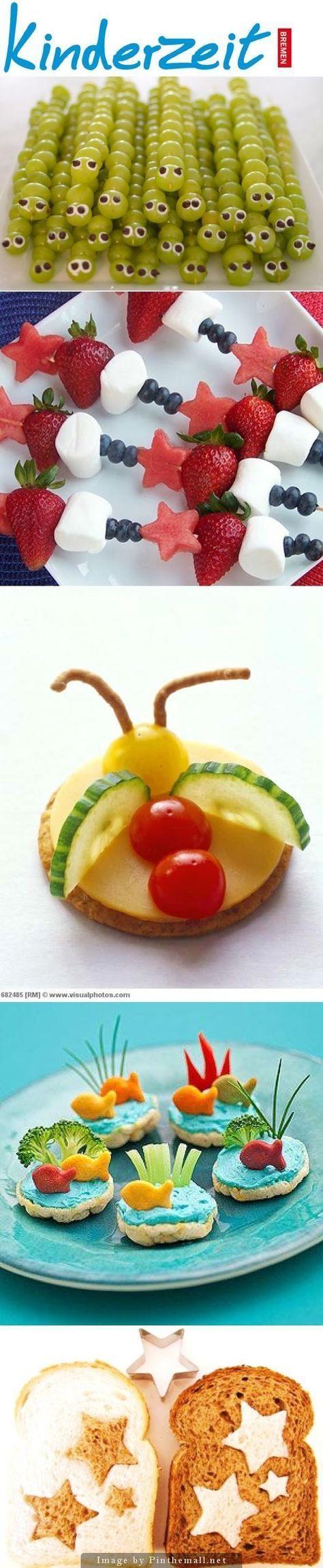 27 IDEEN FÜR KREATIVES KINDERESSEN Es ist nicht immer leicht, Kinder zum Essen zu bewegen, vor allem nicht, wenn es um Obst und Gemüse geht. Gut, dass gerade die Kleinen häufig so visuell gesteuert sind, so dass man mit ein paar kleinen Tricks, schnell ihr Interesse wecken kann. http://www.kinderzeit-bremen.de/blogs/blog #Kinder #Essen #Lunch #Pausenbrot