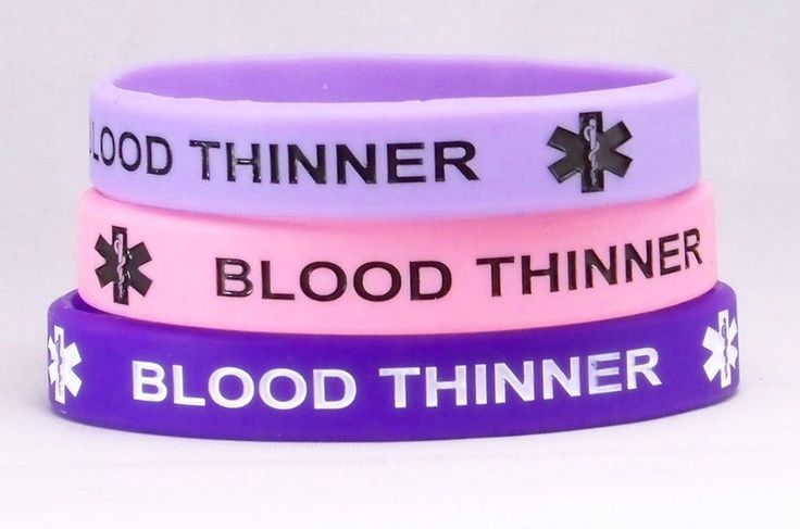 Blood Thinner Medical Alert Bracelet 3 Pack Pink and Purples (7.5 Inches)