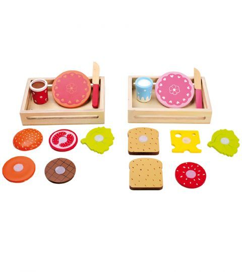Kids love to experiment with their cooking skills. Legler's Hamburger & Sandwich set is what they would love to  have. Children can prepare their own brunch by placing the wooden delicacies one over the other which can be easily connected with Velcro. The set is provided with wooden knife which helps in slicing the delicacies. Serve the mouth-watering meal in a wooden tray along with cute plates & glasses. A big yes yes for picnics & tea time snacks.