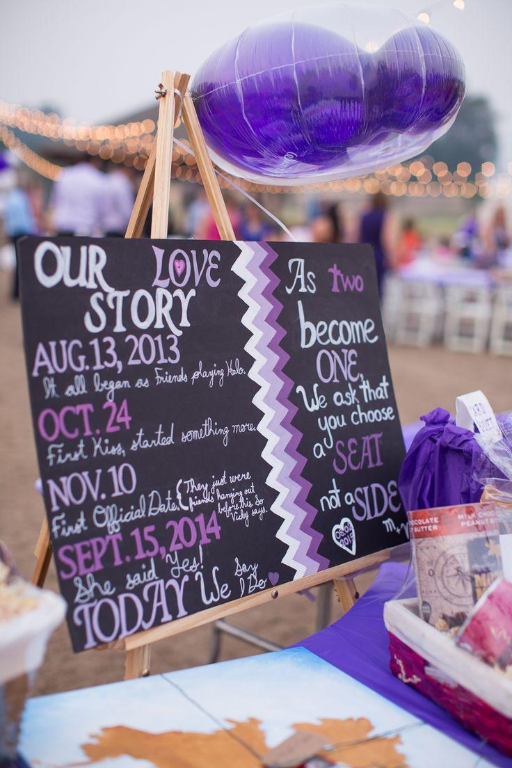 Love Story Board - Choose a seat not a side ombre purple, chevron